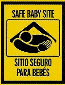 Safe Baby Site sign with drawing of arm around baby