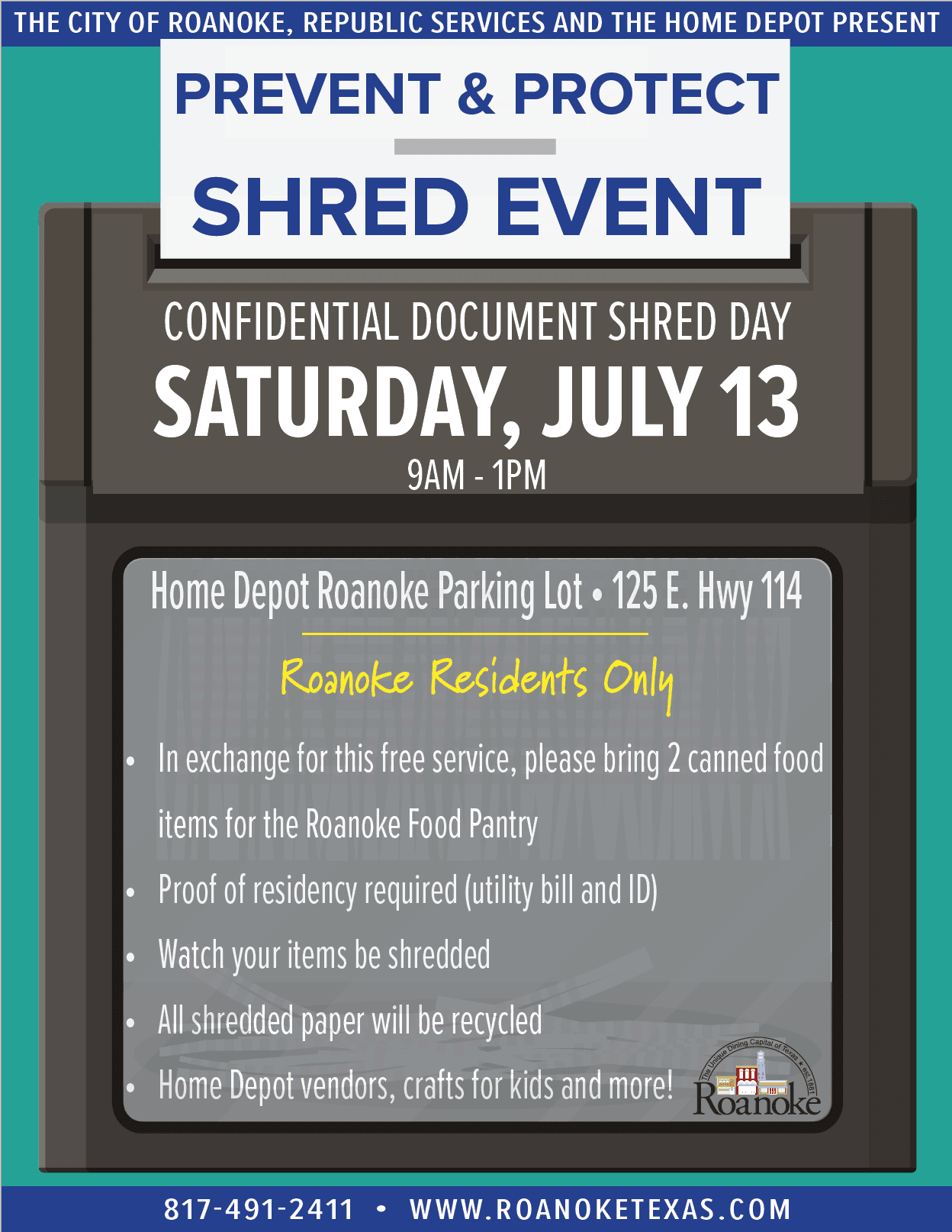 Prevent & Protect Shred Event | Roanoke, TX - Official Website